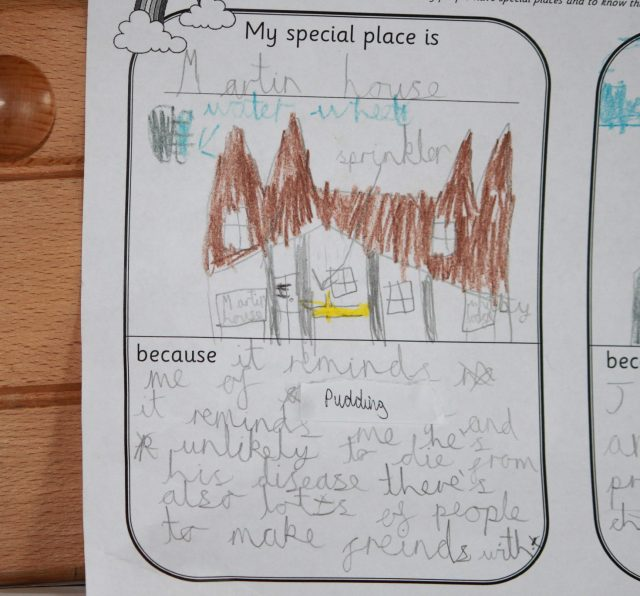 A child's drawing of Martin House Hospice with the caption 'My special place is...'