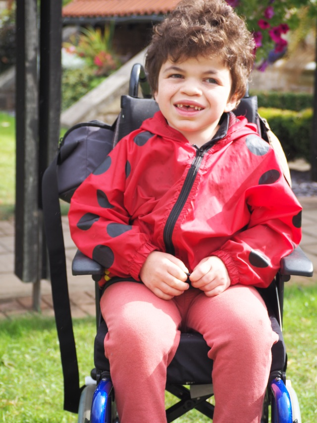 Pudding smiling widely seated in his wheelchair wearing a bright red coat with ladybird spots.